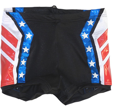 Black red blue star wrestling biker shorts