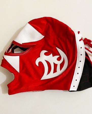 Red white star wrestling mask