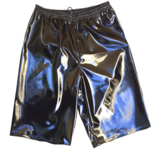 Solid black wrestling baggy shorts