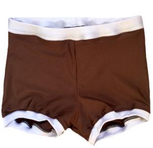 Dark brown w/ white wrestling biker shorts