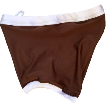 Dark brown w/ white wrestling biker shorts