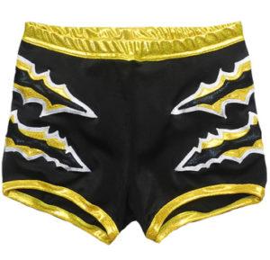 Black yellow wrestling biker shorts