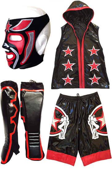 Four piece wrestling set mask shorts hoodie kickpads
