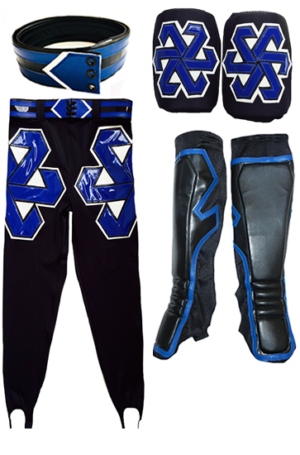 4 Piece Wrestling set tights kneepads kickpads belt