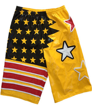 Wrestling shorts yellow red white stars design