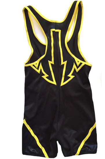 Wrestling singlet black with yellow arrow