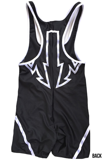 Black on white wrestling singlet