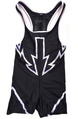 Black on white wrestling singlet