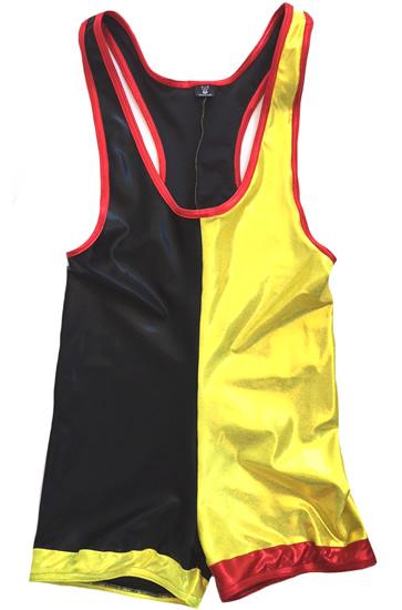 Black yellow wrestling singlet