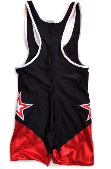 Wrestling singlet black on red angel