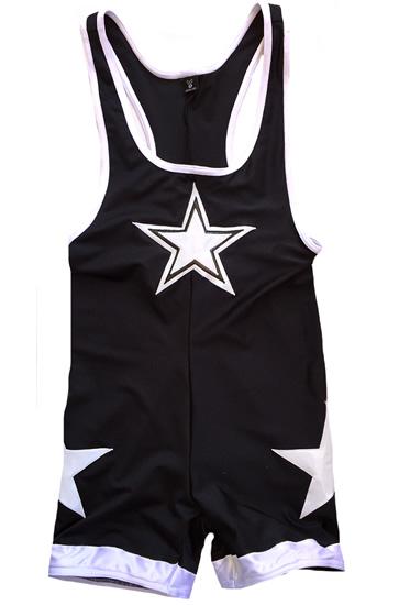 Wrestling singlet white on black star