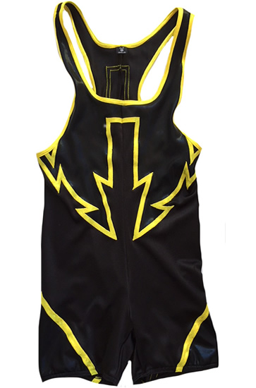Wrestling singlet black with yellow arrow