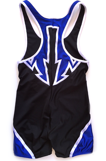 Black on blue wrestling singlet