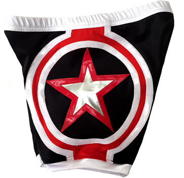 Black red white star wrestling shorts