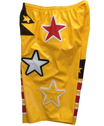 Wrestling shorts yellow red white stars design