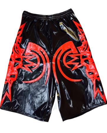 Black red tribal skull wrestling shorts