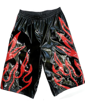 Black flames wrestling baggy shorts