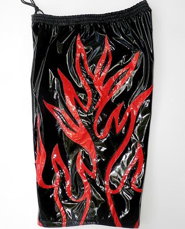 Black flames wrestling baggy shorts