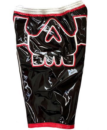 Skull red black white wrestling baggy shorts