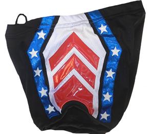 Black red blue star wrestling biker shorts