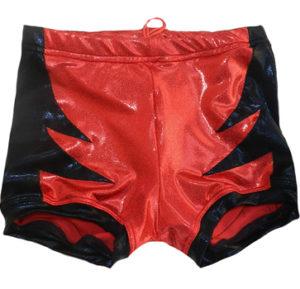 Red black wrestling biker shorts