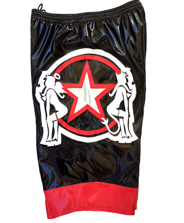 Black red star wrestling baggy shorts