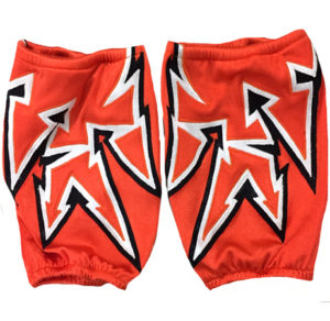 Orange black white kneepads covers