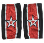 Black silver star wrestling kneepads covers