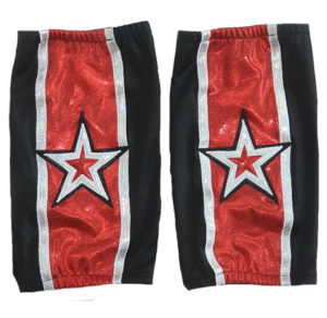 Black silver star wrestling kneepads covers