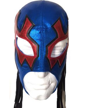 Vibrant blue red white wrestling mask