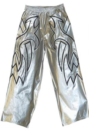 Tribal silver black wrestling baggy pants