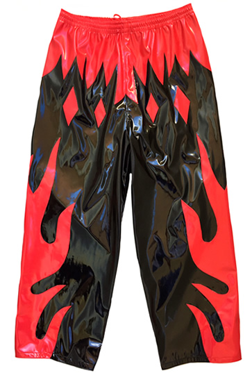 Black red flames wrestling pants