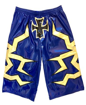 Blue Mephisto wrestling shorts