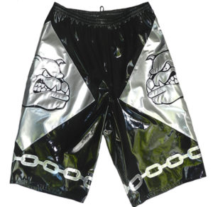 Bull Dog chain black silver wrestling shorts