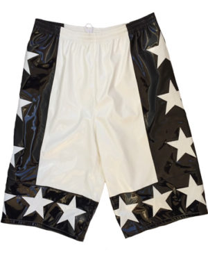 White black allstar wrestling shorts