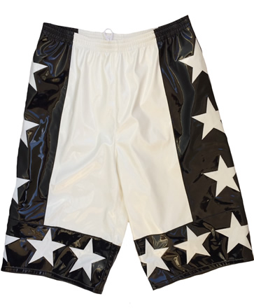 White black allstar wrestling shorts