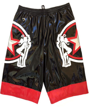 Black red star wrestling baggy shorts