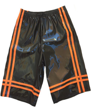 Black neon orange wrestling baggy shorts