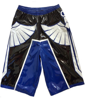 Wrestling shorts blue black white sword
