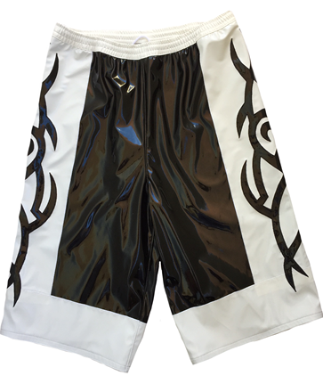 Black white tribal wrestling shorts