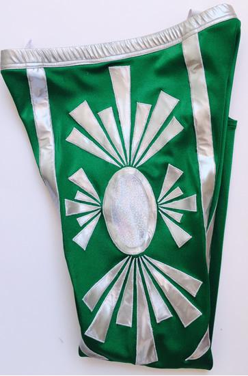 Mystic green silver wrestling tights
