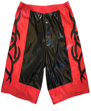Black red tribal wrestling baggy shorts