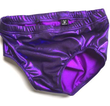 Solid shinny purple wrestling trunks