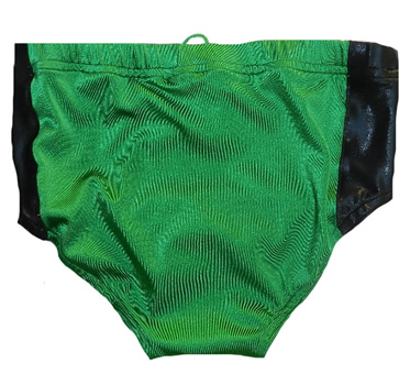 Green black sides wrestling trunks