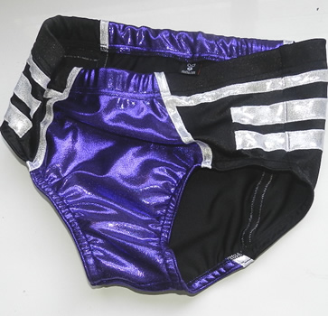 Black silver purple wrestling trunks