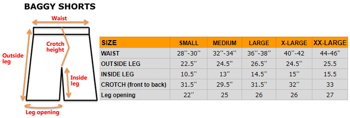 Baggy shorts size chart