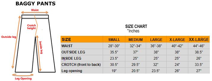 baggy pants size chart